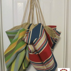 Green and Tan Red and Blue toy sacks