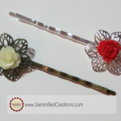 Cabochon Flower Hair Clips (7)