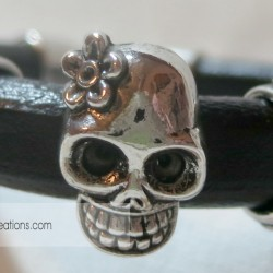 Leather Sugar Skulls Triple Slide bracelet (6)