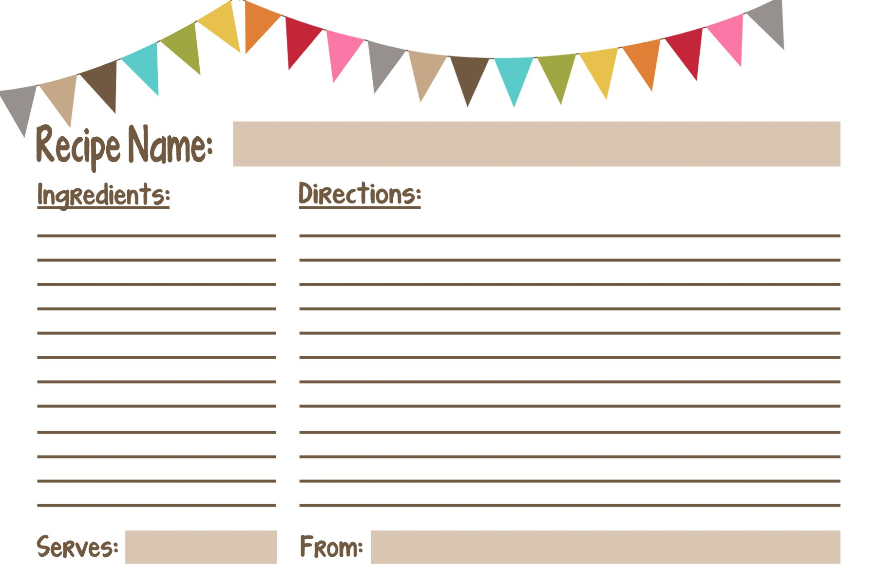 It is a picture of Wild Printable Recipe Card