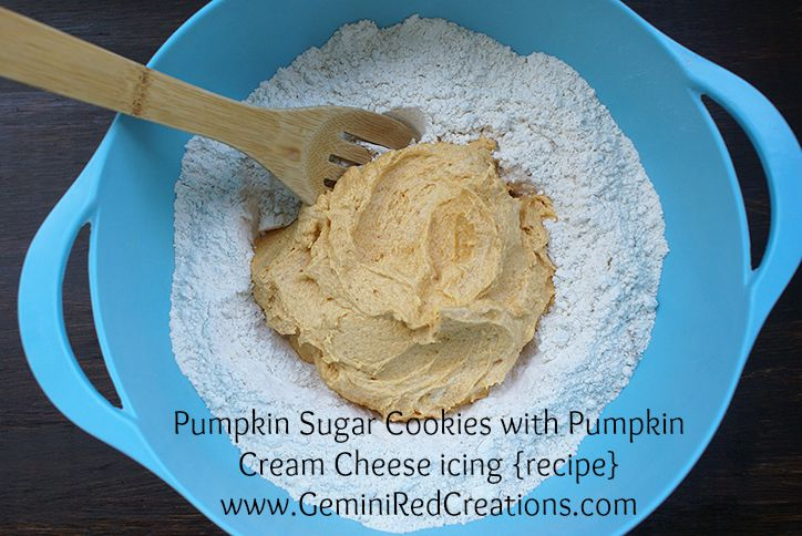 Pumpkin Sugar Cookies with Pumpkin Cream Cheese icing {recipe}