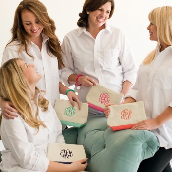 canvas cosmetic bag monogrammed