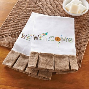 Welcome Garden Linen Towel
