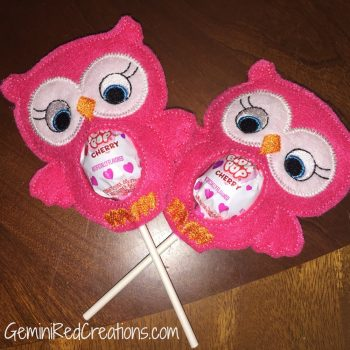 Owl embroidered lollipop covers