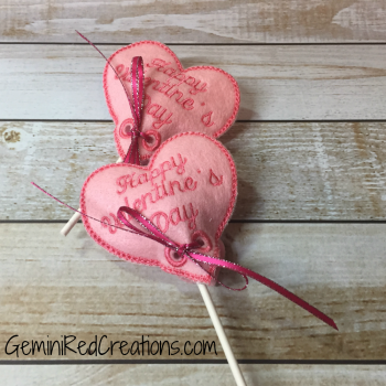 Valentine Hearts Embroidered Lollipop Covers