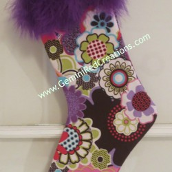 Purple Flowers and Feathers Christmas Stocking