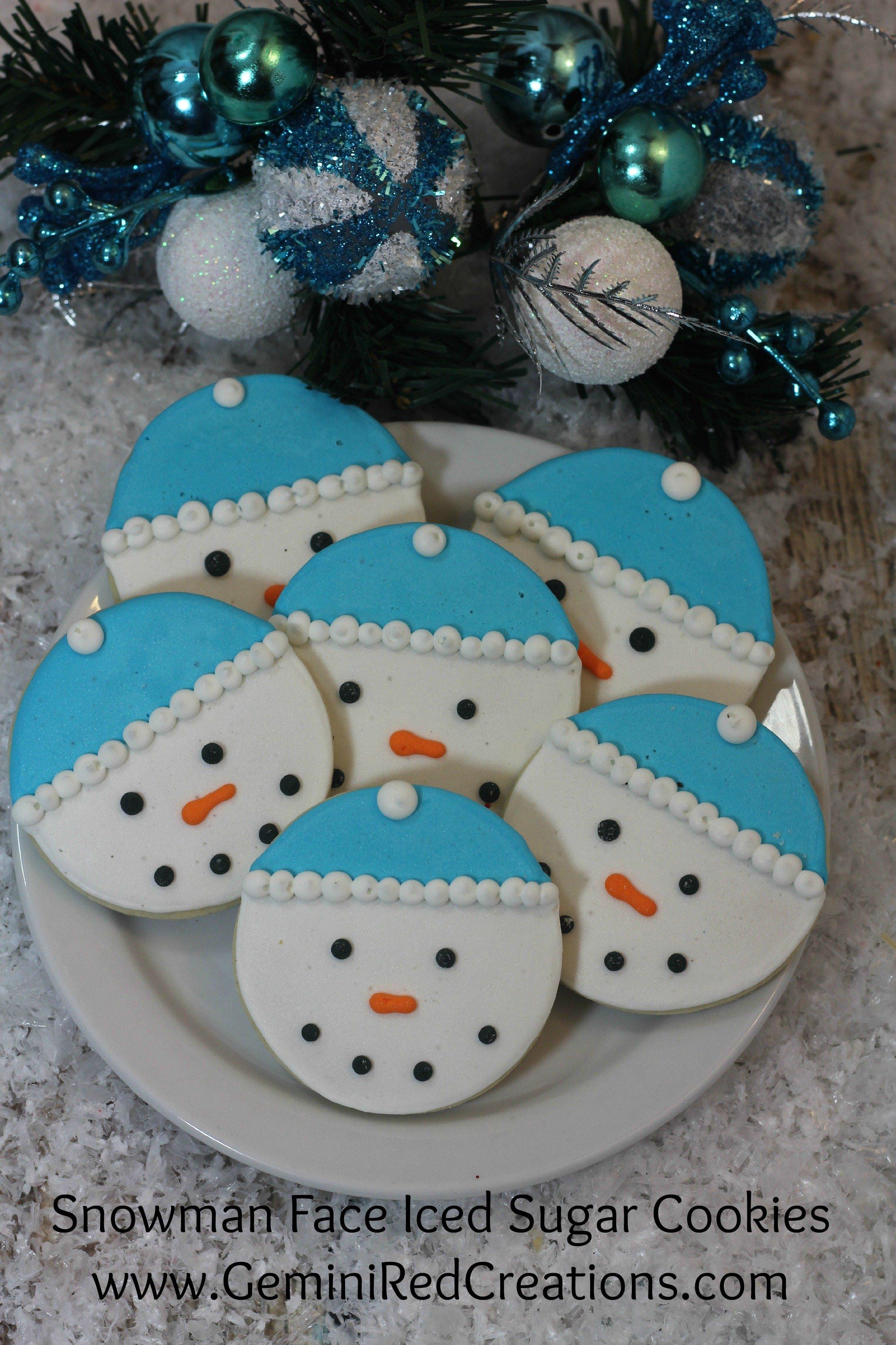 Snowman face ornament - Snowman Face Iced Sugar Cookies