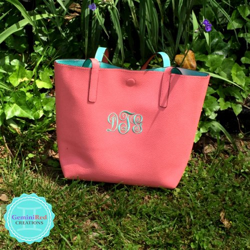 Faux Leather Tote Bag {monogrammed}