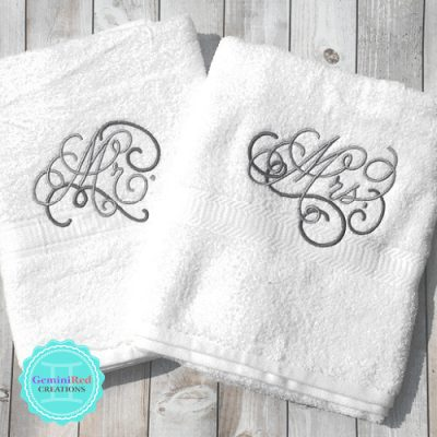Custom bath towel sets {His & Hers, Mr & Mrs}