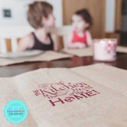 Burlap Embroidered Placemat Set