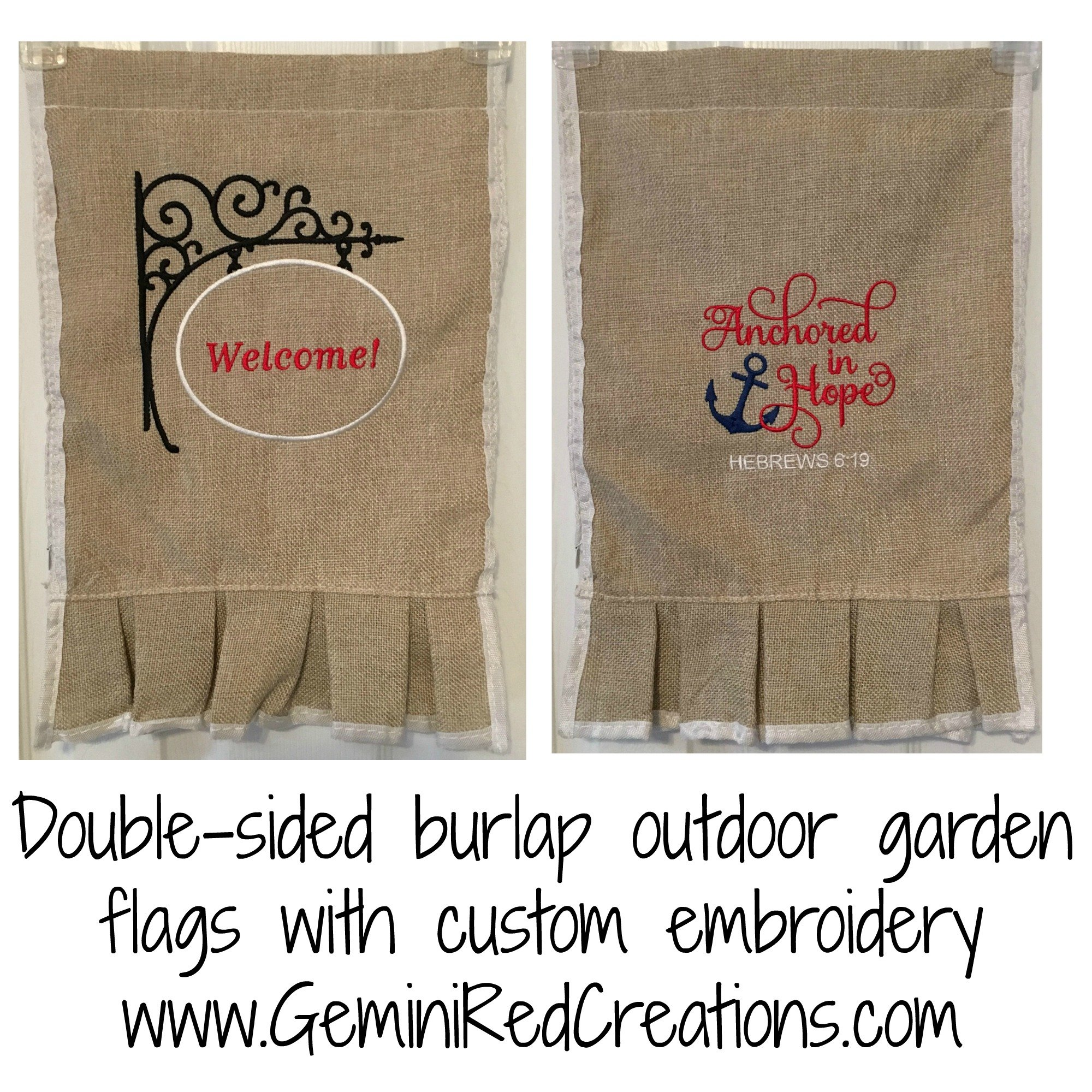 Burlap Ruffled Embroidered Garden Flag {double sided} - GeminiRed ...
