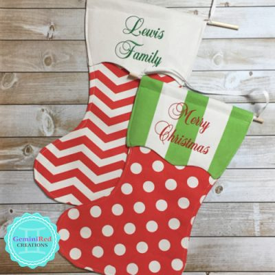 Personalized Canvas Christmas Stocking Garden/Door Flag