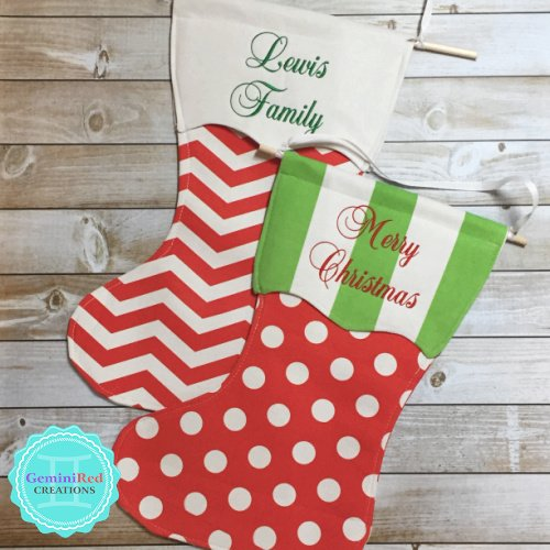 Personalized Canvas Christmas Stocking Garden/Door Flag