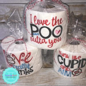 Embroidered Toilet Paper {Valentine's Day}