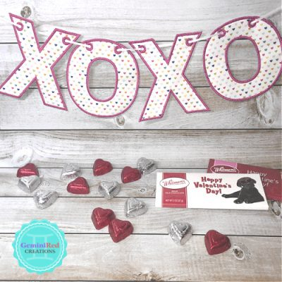 X O Hugs and Kisses Embroidered Fabric Banner / Bunting