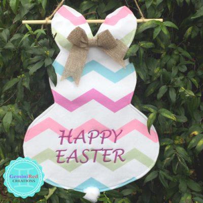 Personalized Canvas Easter Bunny Garden/Door Flag