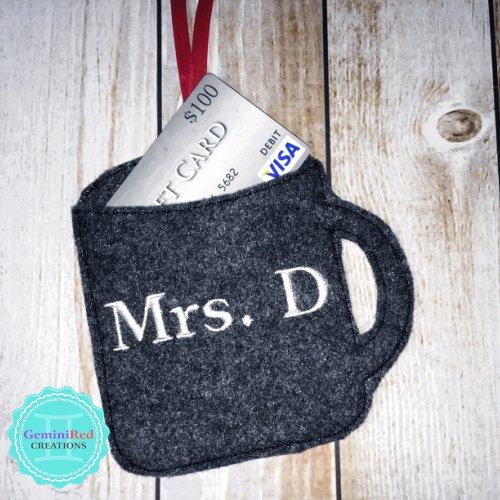 Coffee Mug Custom Gift Card Holder