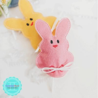 Easter Bunny Embroidered Lollipop Covers