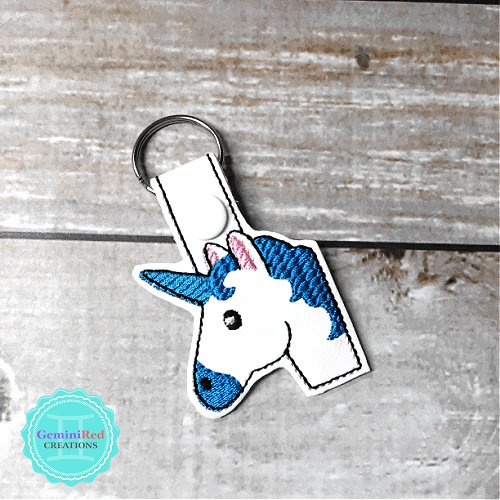 Unicorn Head Emoji Embroidered Vinyl Key Fob