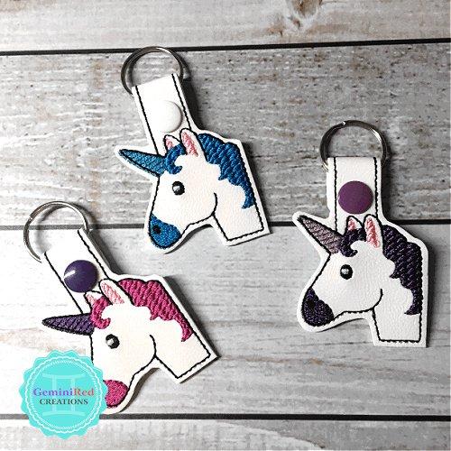 Unicorn Head Emoji Embroidered Vinyl Key Fob