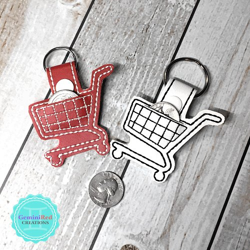 Shopping Cart Quarter Keeper Embroidered Vinyl Key Fob