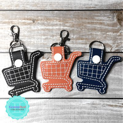 Shopping Cart Quarter Keeper Embroidered Vinyl Key Fob