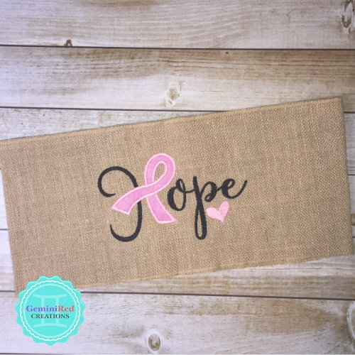 Burlap Pillow Wraps Hope Cancer Ribbon