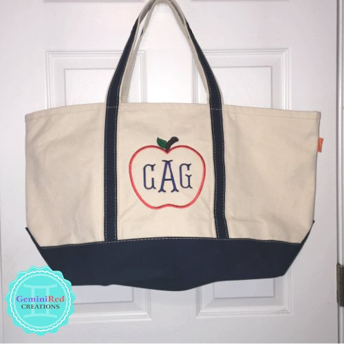 Canvas Boat Tote Top Zip Closure {Large}