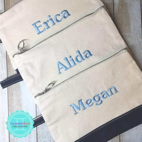 Canvas Color Block Personalized Cosmetic Bag