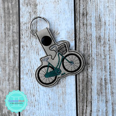 Bicycle Beach Cruiser with Basket Embroidered Vinyl Key Fob