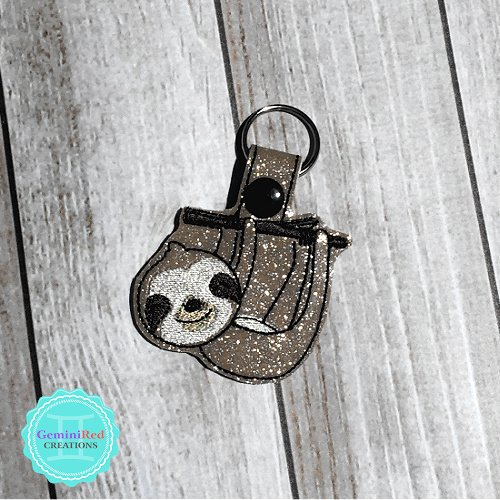 Sloth on Branch Embroidered Vinyl Key Fob