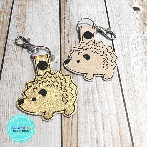 Hedgehog Embroidered Vinyl Key Fob
