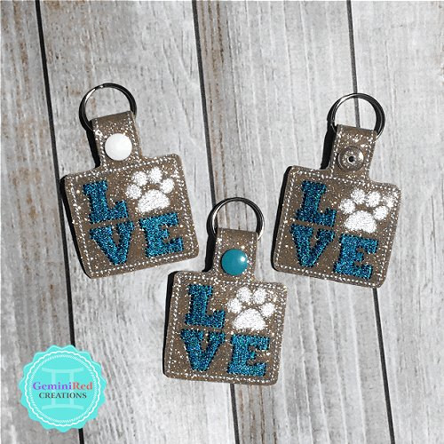 Love Paw Print Embroidered Vinyl Key Fob