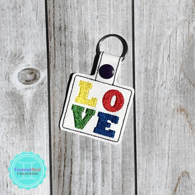 Love Rainbow Embroidered Vinyl Key Fob
