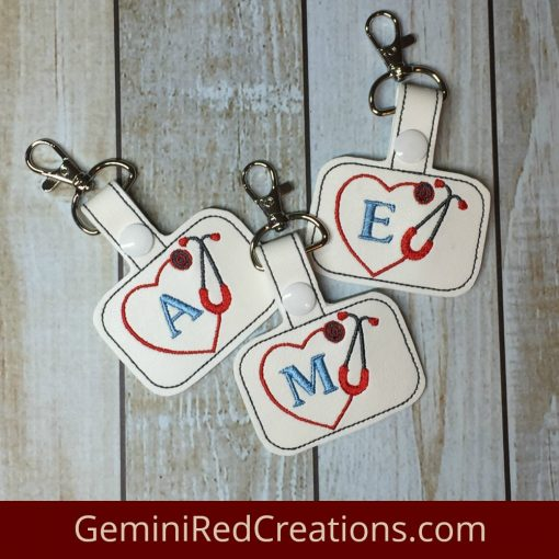 Heart Stethoscope Monogrammed Embroidered Vinyl Key Fob