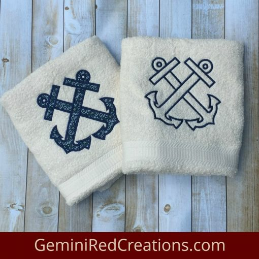 Anchor Appliqué Bath / Beach Towels