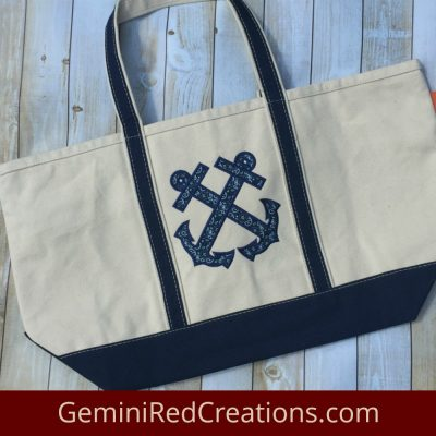 Anchor Appliqué Canvas Large Boat Tote
