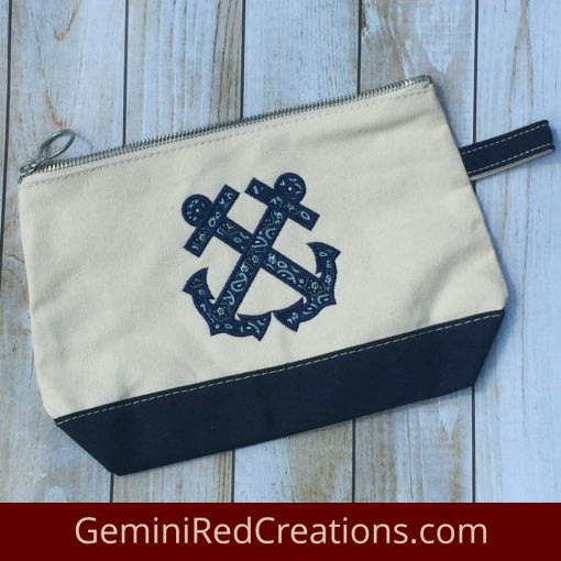 Anchor Appliqué Canvas Zip Pouch