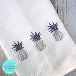 Pineapple Embroidered Kitchen Towels {Hearts}