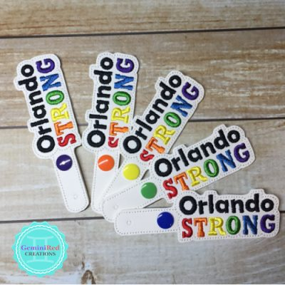 Orlando Strong Embroidered Vinyl Key Fob