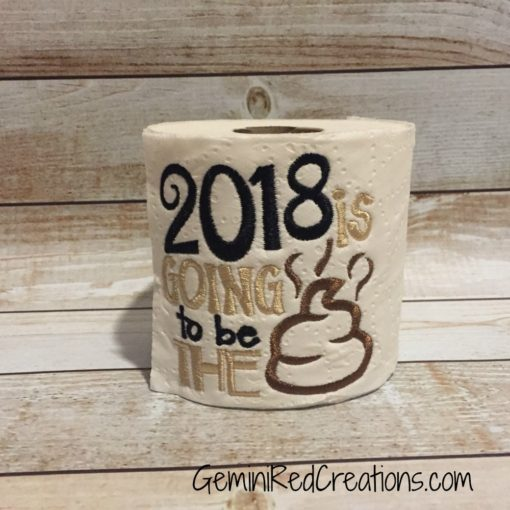 Embroidered Toilet Paper {New Year}