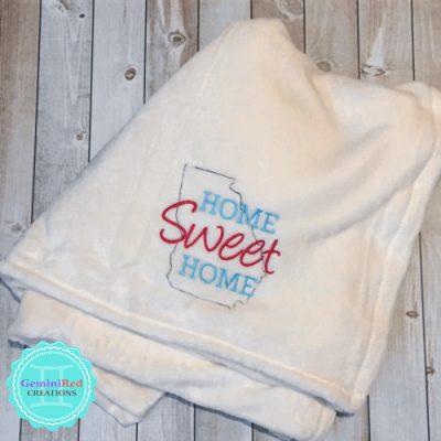 Home Sweet Home State Outline Fleece Blanket