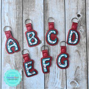Applique Alphabet Embroidered Vinyl Key Fob
