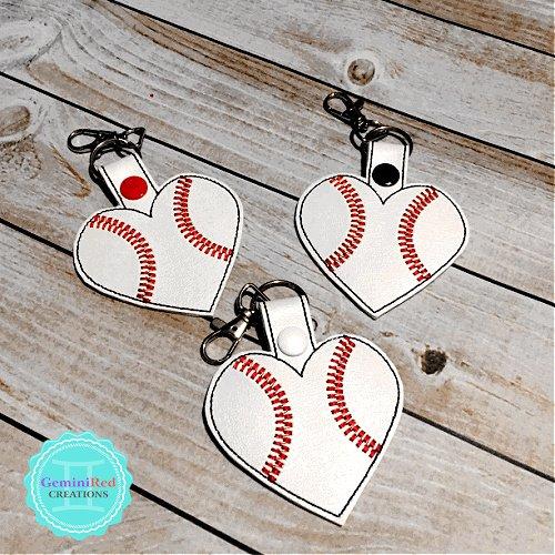 Baseball Heart Embroidered Vinyl Key Fob