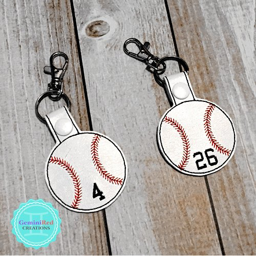 Baseball Embroidered Vinyl Key Fob