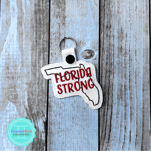 Florida Strong Embroidered Vinyl Key Fob