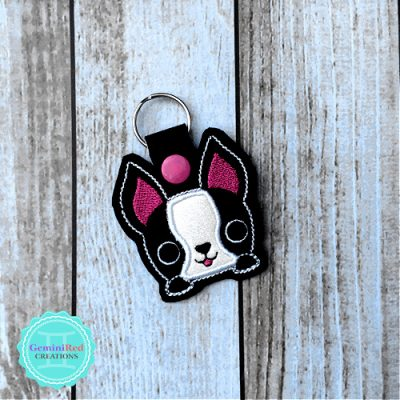 Smiling Frenchie Embroidered Vinyl Key Fob