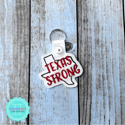 Texas Strong Embroidered Vinyl Key Fob
