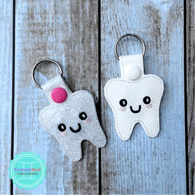 Tooth Embroidered Vinyl Key Fob
