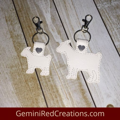 Goat Silhouette Embroidered Vinyl Key Fob